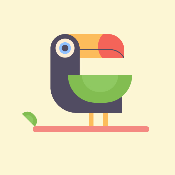 Tutorial on how to design tropical toucan bird in Adobe Illustrator CC