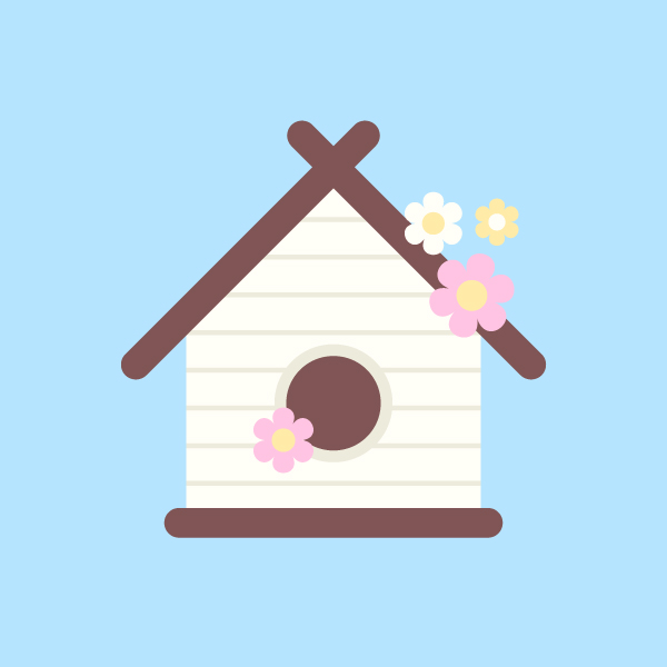 Illustrate a birdhouse with flowers vector online