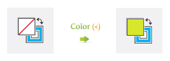 Color (<) to make unfilled fill or stroke filled