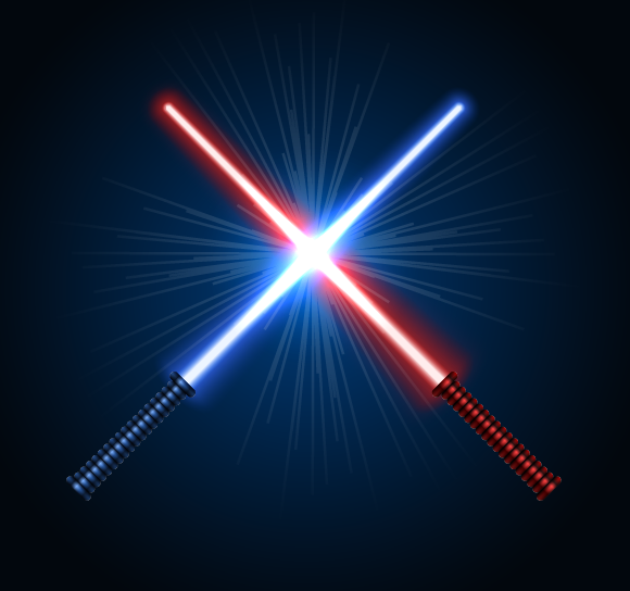 Lightsaber vectors crossed