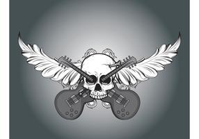 Vector skull, foliage and guitars