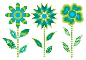 3 Green Abstract Flower Vectors