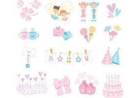 Cute Girly Vector Pack