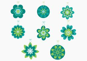 Green Flower Power Tag Vector Pack