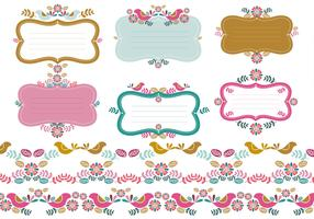 Floral Tags & Borders Vector Pack Two