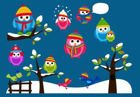 Winter Owl Vector Pack