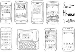 Free Hand Drawn Smart Phone Vectors!!!