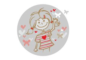 Girl and Flying Hearts Vector