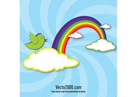 Rainbow with clouds and bird for card design