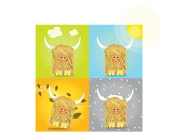 Scotland in one day! Seasonal Highland Cow Vectors