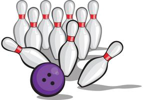 Bowling Ball Vector Crashing into Pins - POW!