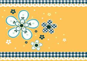 Gingham and Daisies Vector Wallpaper