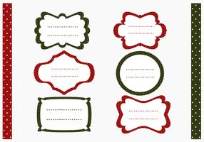 Polka Dotted Christmas Label and Pattern Vector Pack