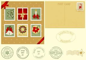 Christmas Postcard and Stamps Vector Pack