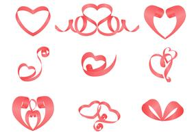 Ribbons Hearts Vector Pack