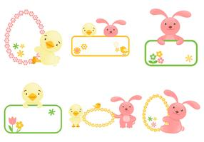 Easter Bunny and Chick Label Vector Pack