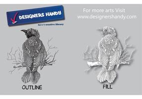 Textured Feathery Bird Vector