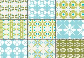 Nine Retro Floral Vector Patterns
