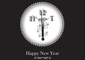 New Year Clock Vector Wallpaper