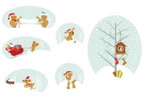 Christmas Animal Tags Vector Pack