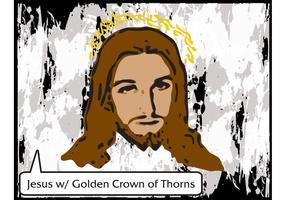 Jesus Vector with Golden Crown of Thorns - Free Vector