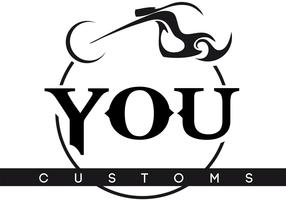 You Customs Riderz Motorcycle Logo Vector
