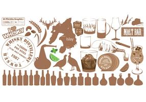 Variety Set of Whiskey Vector Images
