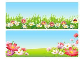 Pink Spring Flower Landscape Vector Pack
