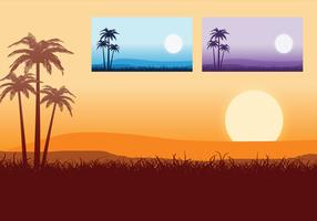 Puesta de sol Tropical Wallpaper Vector