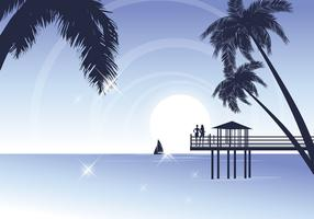 Tropical Beach Vector Wallpaper