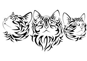 Tribal Cats Vectors