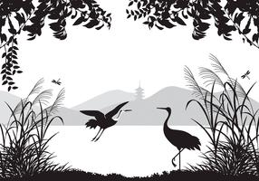 Asian Landscape Wallpaper with Herons Vector Pack
