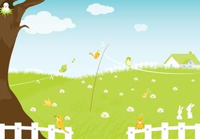 Backyard Singing Birds Vector Background