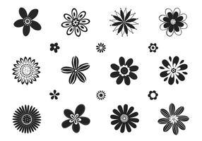 Stylized Black and White Flower Vector Pack