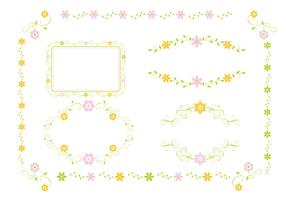 Pink and Green Floral Ornament Vector Pack