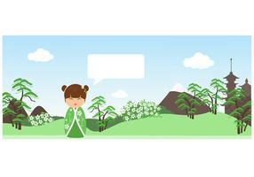 Cute Kokeshi Banner Vector
