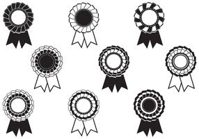 Black and White Rosette Award Vector Pack
