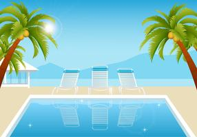 Tropical Summer Pool Vector Wallpaper