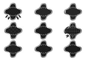 Silver and Black Patterned Label Vector Pack
