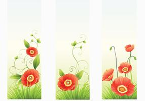 Red Poppy Banner Vectors