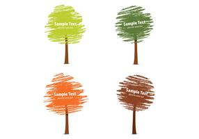 Chalk Drawn Fall Tree Vector Pack