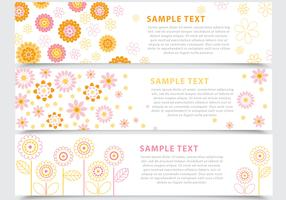 Abstract Floral Banner Vector Pack