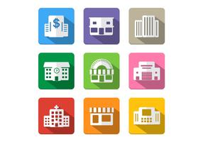 Long Shadow Building Icon Vector Pack