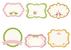 Cute Girly Frame Vector and Label Vector Pack