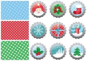 Christmas Bottle Cap Vector Pack