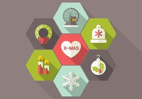 Long Shadow Flat Christmas Vector Icons