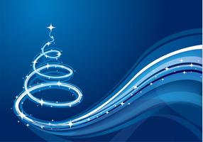 Blue Wave Christmas Tree Vector