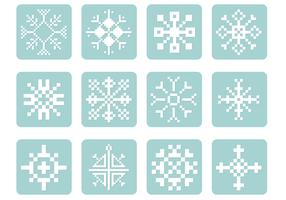 Pixel Snowflake Vector Pack