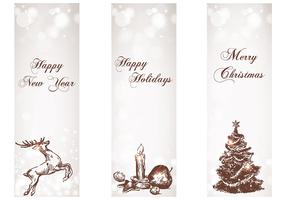 Snowy Holiday Banner Vector Pack