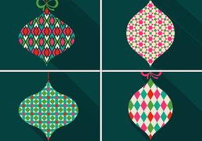 Retro Patterned Christmas Ornament Vectors